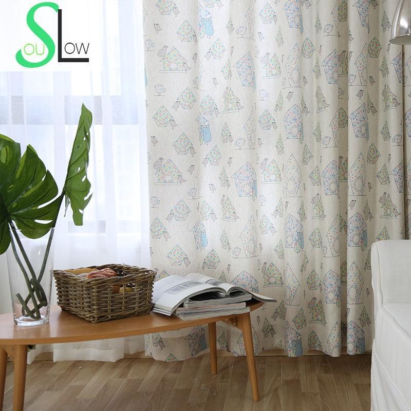 Cartoon Trees Curtains For Bedroom Cotton Linen Towel: Slow Soul Cartoon House Lolo Bird Curtain Curtains For