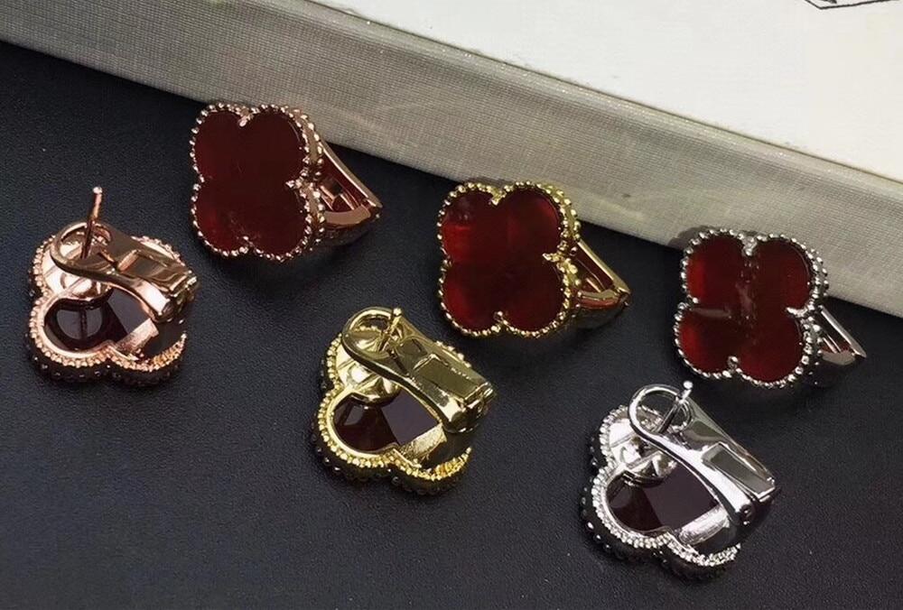 Brand Fashion Wedding Jewelry For Women Flower Earrings 925 sterling silver Clover Stud Earring Silver Needle Earrings
