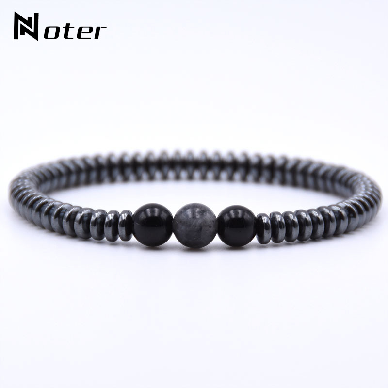 Minimalist Natural Stone Bracelet Men Charm Hematite Beads Bracelet Male Cool Biker Diy Jewelry Accessories Bracelet Homme Joyas bracelet