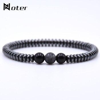 Minimalist Natural Stone Bracelet Men Charm Hematite Beads Bracelet Male Cool Biker Diy Jewelry Accessories Bracelet Homme Joyas