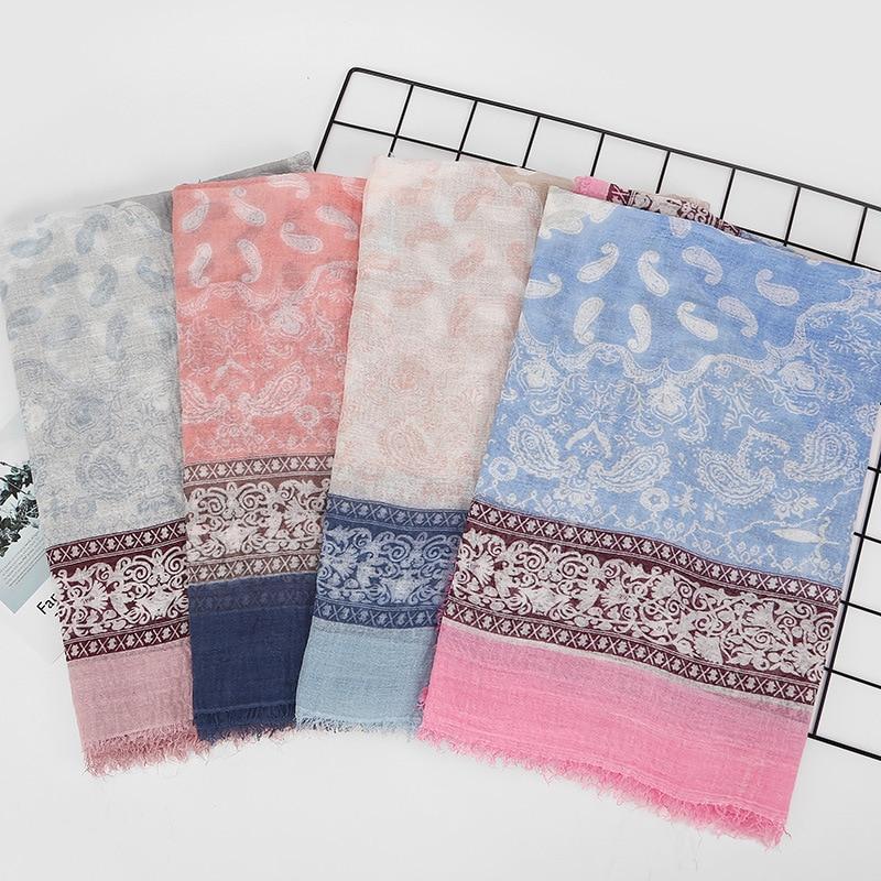 2018 Printemps Hiver Femmes Coton Lin éthique écharpe Franges Grandes Enveloppes étoles Pashmina Musulman Hijabs Noix De Cajou écharpes