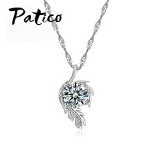 Trendy CZ Crystal Leaves Feather Design Pendant Necklace Jewelry For Women 925 Sterling Silver Best Party Bijoux Gifts(China)