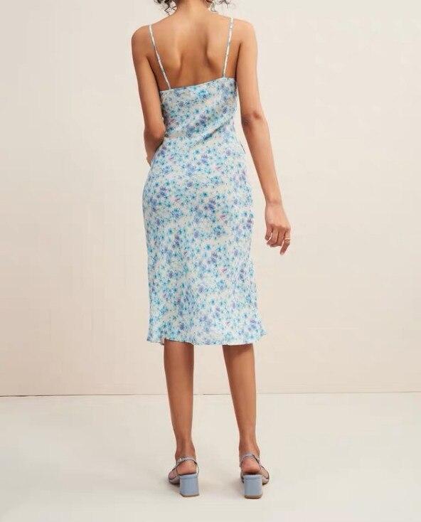 Frauen Ärmelloses Schlank Floral Kleider Casual Spaghetti Strap Blau Kleid-in Kleider aus Damenbekleidung bei  Gruppe 2