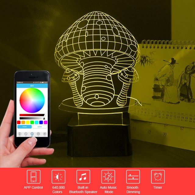 Drop Ship Mushroom 3D Light Bluetooth Speaker Lamp LED Phone Control Desk Table Lamp RGB Music Night Light Child Christmas Gift