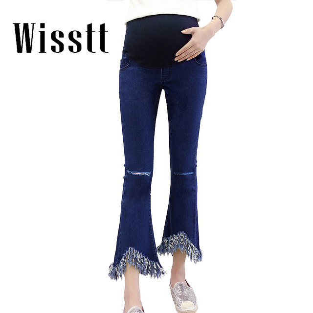 2017 Elastic Waist Maternity Tassel Denim Jeans Pants for Pregnancy Clothes Pregnant Women Nine-hole Trousers Retro Flared Jeans