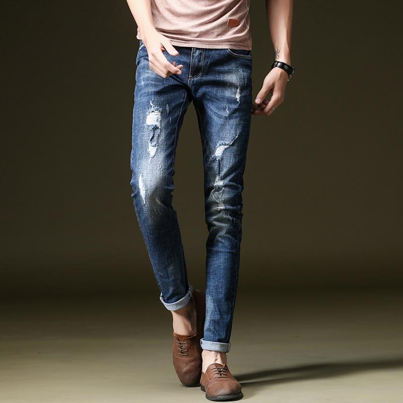 NIGRITY 2019 Spring New Design Model Men Slim Fit Elastic Light Vintage Blue Jeans Fashion Pant Stretch Distressed Male Trousers