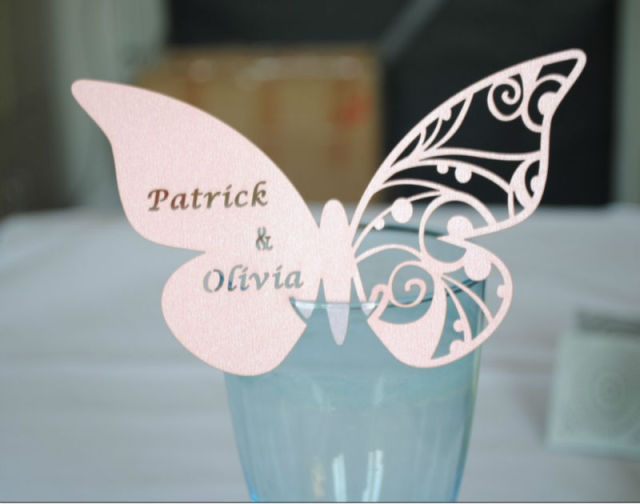 Butterfly Place Cards For Wine Glass/table Decoration,butterfly Laser Cut  Place Cards Free