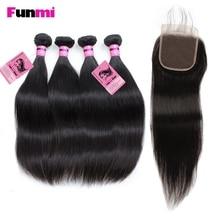 Funmi indiske rett hårbunter med lukking 4 bunter med lukking Straight Virgin Human Hair Extensions for frisørsalong