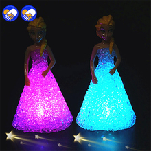 Anna Elsa Toys Doll Ice Snow Queen 7 LED Color Baby For Girls C0A858