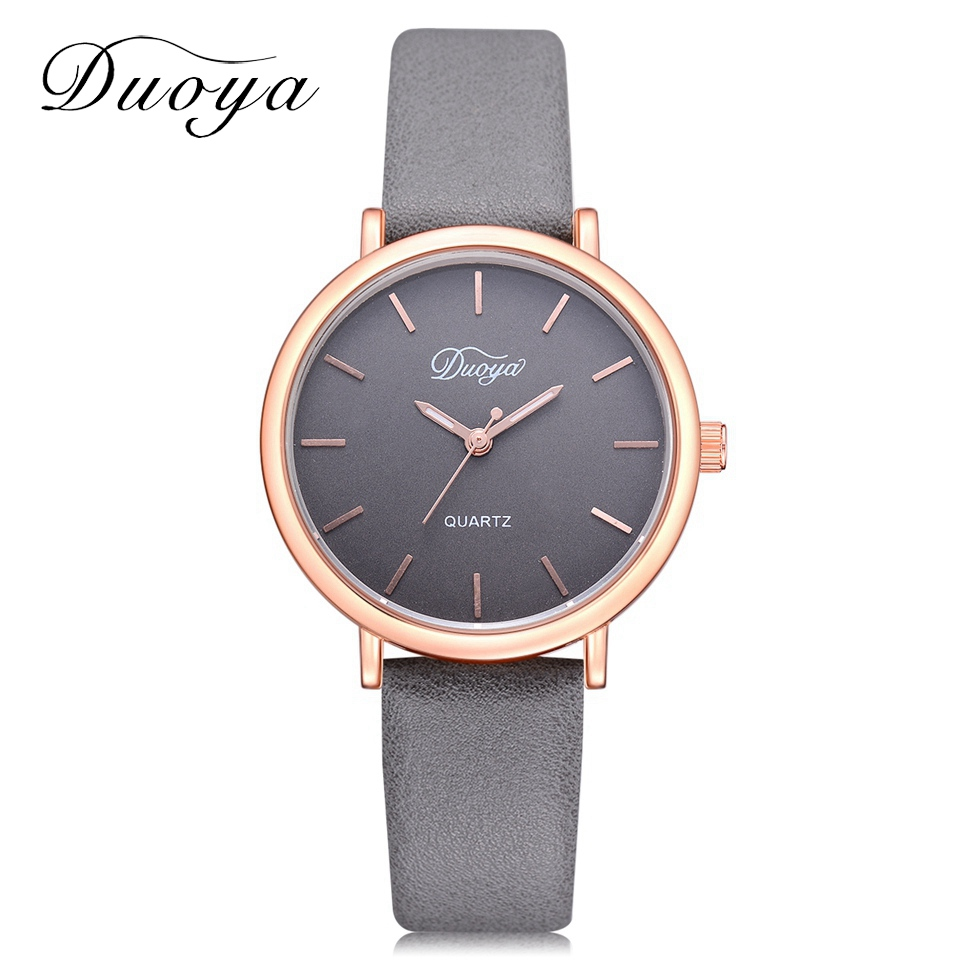 2018 Duoya Top Luxury Brand Rose Gold Dial Fashion Watch Women Quartz Thin Leather Strap Classic Simple Female Wristwatch DY162