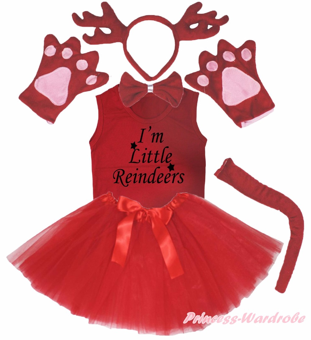 Xmas Party Kids Red Reindeer 6PC Headband Paw Tail Bow Shirt Gauze Skirt Costume тостер ariete 186 party time red