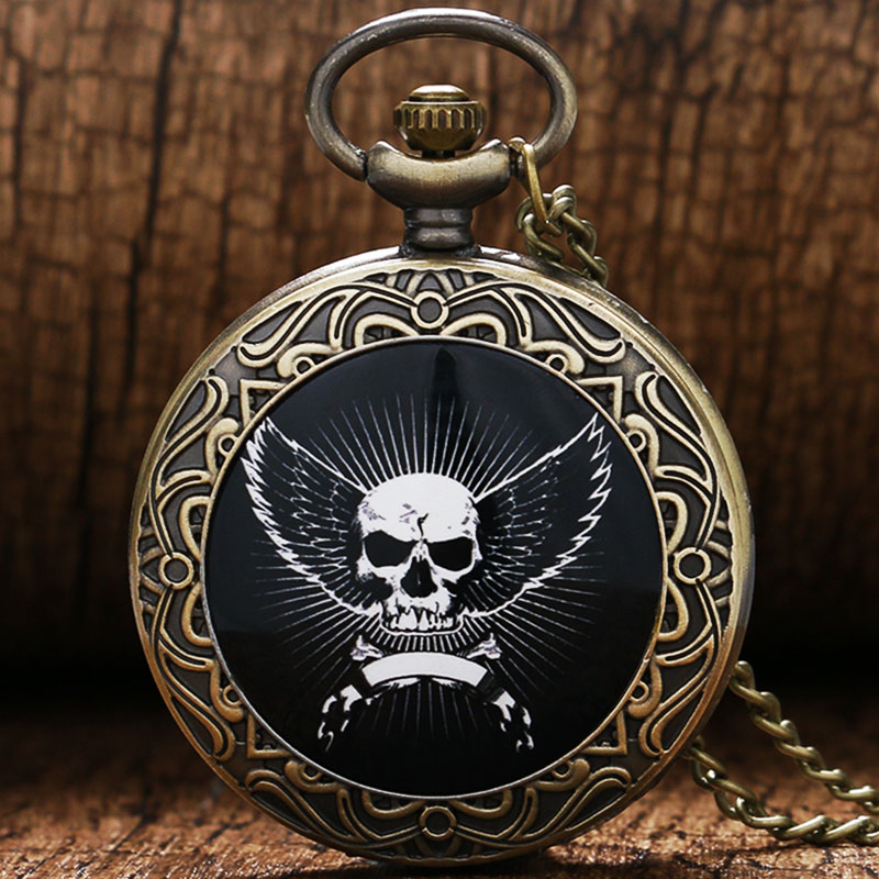 Retro Vintage Bronze Skeleton Skull Head Wings Shield Quartz Pocket Watch Women Men Necklace Pendant Chain Birthday Gift P386C men s antique bronze retro vintage dad pocket watch quartz with chain gift promotion new arrivals