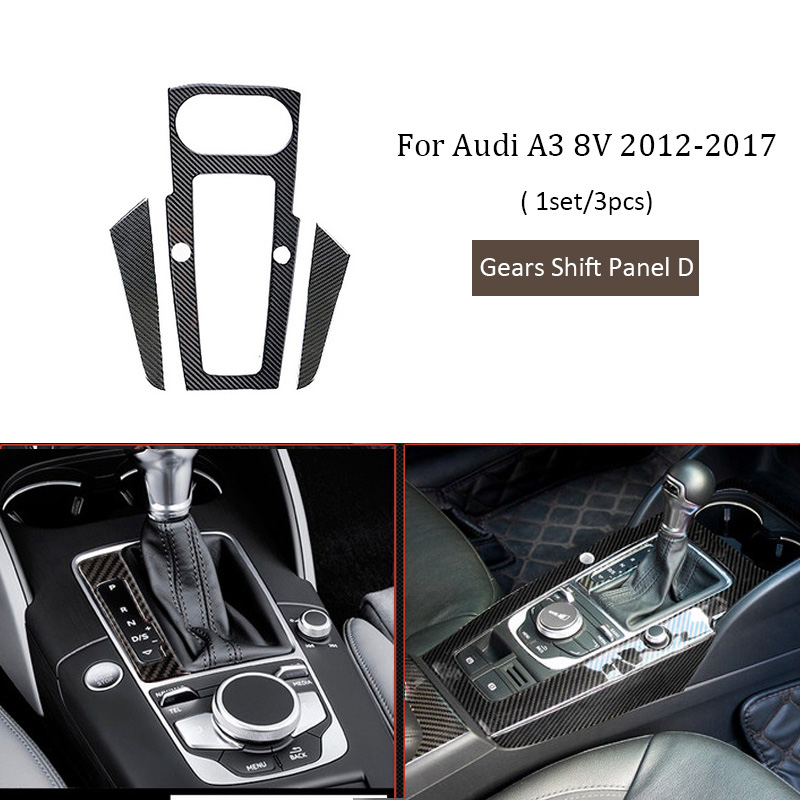 Car Styling Stickers For Audi A3 8V 2018 2017 -2012 Gears Shift Windows Lifter Panel Air outlet GPS Carbon Fiber Accessories image