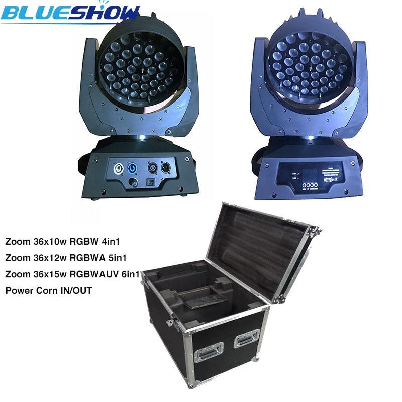 No tax custom by sea,2pcs/flightcase Power corn Zoom LED Moving head 36x10W RGBW 4in1 Wash Lights RGBWA 5in1 RGBWAUV 6in1 stage
