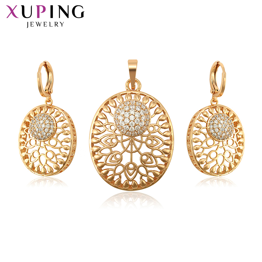 11.11 Deals Xuping New Arrival Round Series Synthetic Cubic Zirconia Engaged Jewelry Sets for Women Thanksgiving S124,1-65292