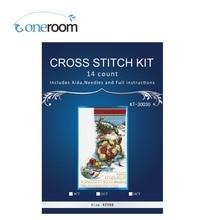 Oneroom Christmas sock old man home Decor counted 14ct white canvas similar DMC Cross Stitch kits14ct needlework Set 3th