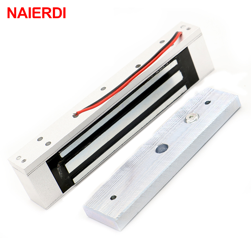 NAIERDI Single Electric Light Door Lock 12V Magnetic Electromagnetic Lock 180KG (350LB) Holding Force For Access Control System diysecur electric magnetic lock 180kg 350lb holding force for iron glass wooden door access control system use