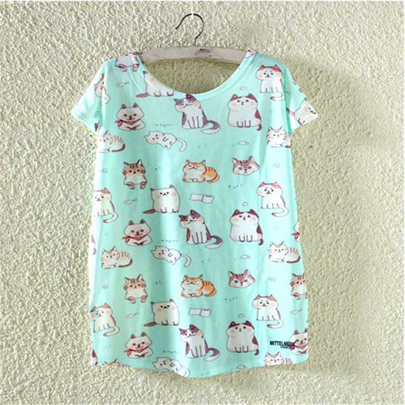 Western Style Kittens Print Womens T Shirt Women Short Sleeve O Neck Loose Tshirt Lovely Casual Party School Clothing T-Shirt