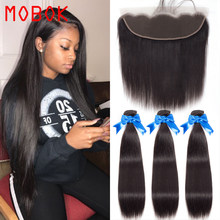 MOBOK Brazilian Straight Hair Weave Bundles With Frontal Closure Lace Frontal With Bundles Human Hair Extension Hair Bundles(China)