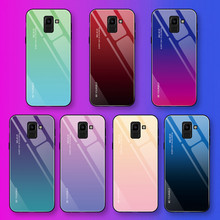 Tempered Glass Case For Samsung Galaxy S8 S9 S10 Plus S10e A50 A30 A70 Note 8 9 A7 J4 J6 A9 A8 A6 2018 M30 M20 Gradient Cover(China)