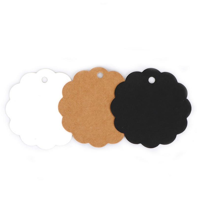 100 Pcs/Set DIY Lace Label Card Gift JBlank Price Hang Tag Wedding Note Luggage Kraft Paper Tags 2Y