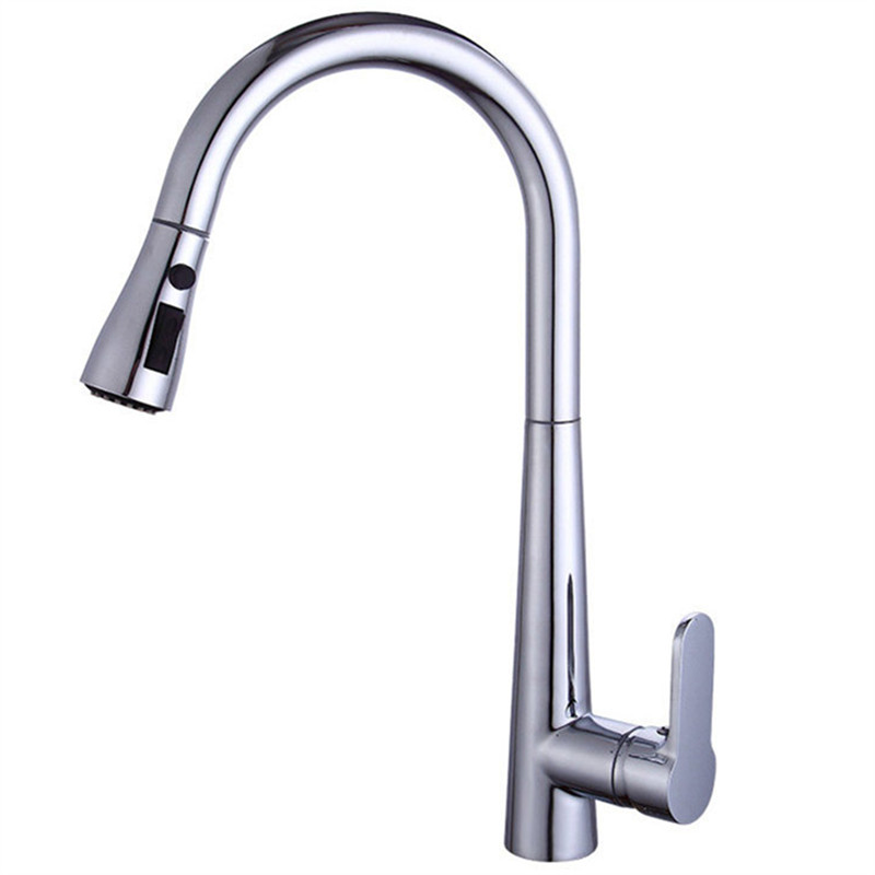 Kitchen Sink Faucet Chrome Brass Kitchen Basin Faucet Pull Out Spring Spout Sink Mixer Tap Single Handle Hot and Cold FaucetKitchen Sink Faucet Chrome Brass Kitchen Basin Faucet Pull Out Spring Spout Sink Mixer Tap Single Handle Hot and Cold Faucet