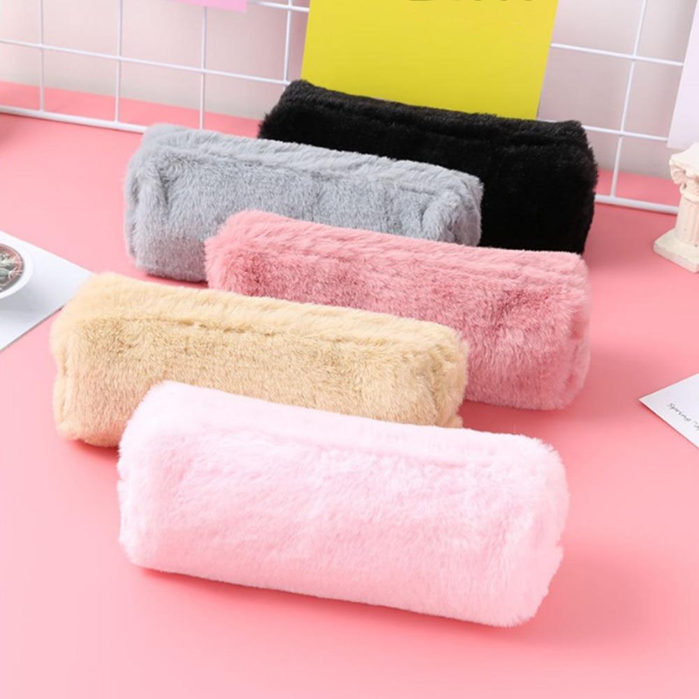 2019 Solid Color Plush Makeup Bag Girls Cosmetic Bag Kawaii  School Neceser Pink Make Up Bags Girls Travel Organizer Beauty Case