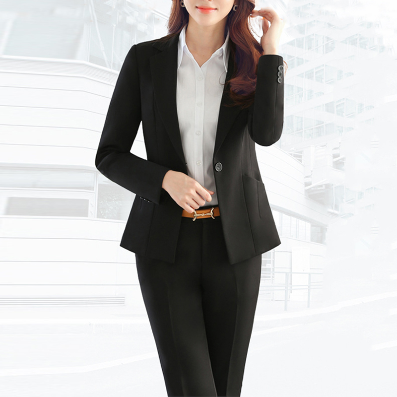 2019 Spring Autumn Business Women 2 Piece Interview Suit Set Uniform Long-Sleeved Blazer Pencil Pant Office Lady Suits Plus 5XL