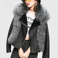 Korean style winter women genuine leather real sheepskin shearling jackets coats big real fox fur collar outwear casaco LT2694