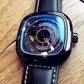 Mode Luxus Quadrat herren Uhr Automatische Mechanische Tourbillon Uhr Skeleton Große Zifferblatt Wasserdichte Lederband Heißer Verkauf-in Mechanische Uhren aus Uhren bei