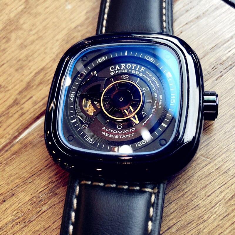 Mode luxe carré montre pour hommes automatique mécanique Tourbillon montre squelette grand cadran étanche en cuir bracelet offre spéciale