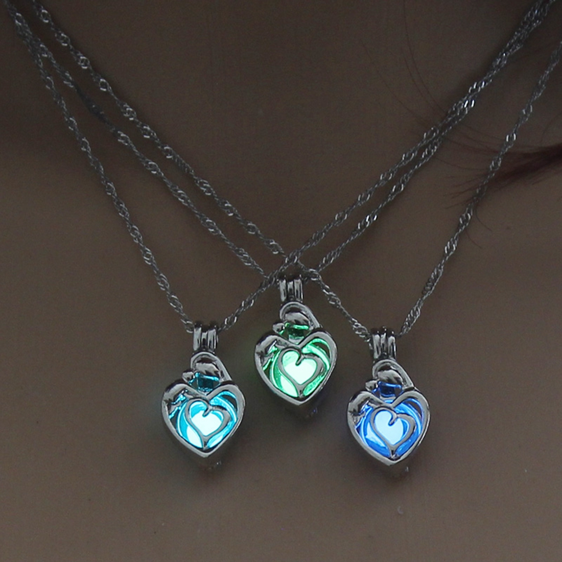 3 Colors Heart Shape Glowing in the Dark Necklace Jewelry