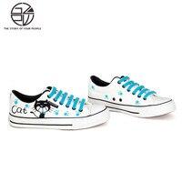 Gzpw cosplay handgeschilderde leuke katten canvas schoenen lage blauw kant wilde vrouwen schoenen 35-39