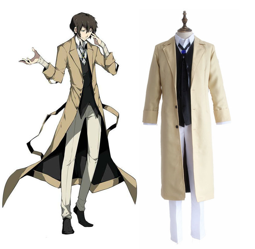 Bungo Stray Dogs Osamu Dazai Cosplay Costumes Full Set Detective Uniform ( Trench coat + Vest + Pants + Neckwear ) Size S-XL