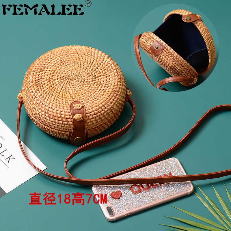 FEMALEE вьетнамская Чистая ручная сумка из ротанга, винтажная пляжная сумка через плечо, летняя круглая соломенная сумка, дорожные мини-сумки, тканые круглые сумки