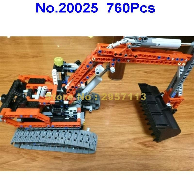 20025 760Pcs Technic Series Red Excavator Lepin Building Blocks Compatible 8294 Brick Toy