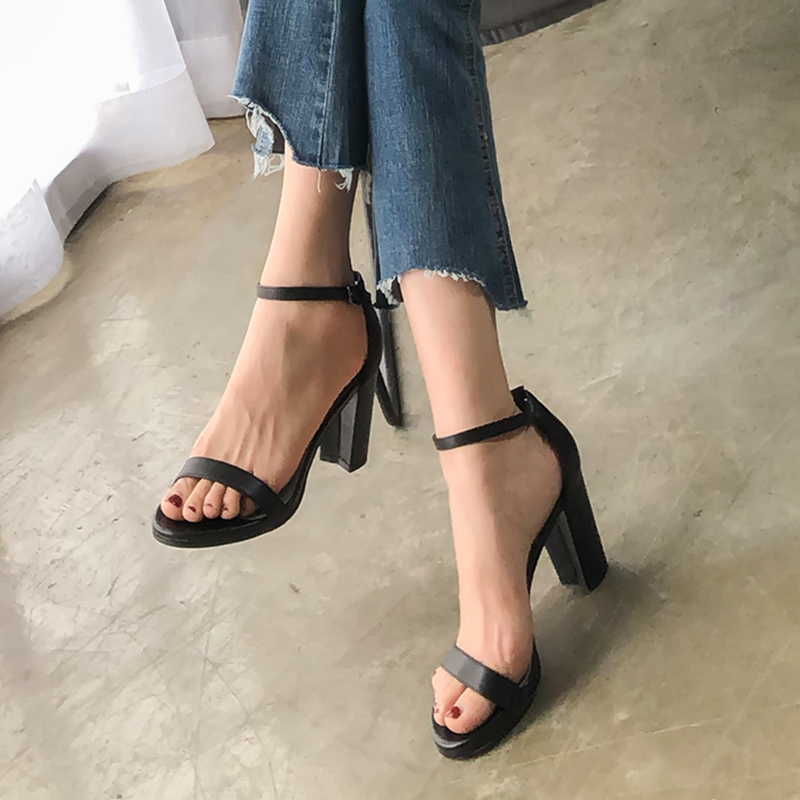 Thick Heel Sandals Women Shoes Genuine Leather 2018 Summer High Heel Shoes Ankle Strap Cool European Female New Brand Pumps aercourm a 2018 women black fashion shoes female bright genuine leather shoes pearl high heel pumps bow brand new shoes z333