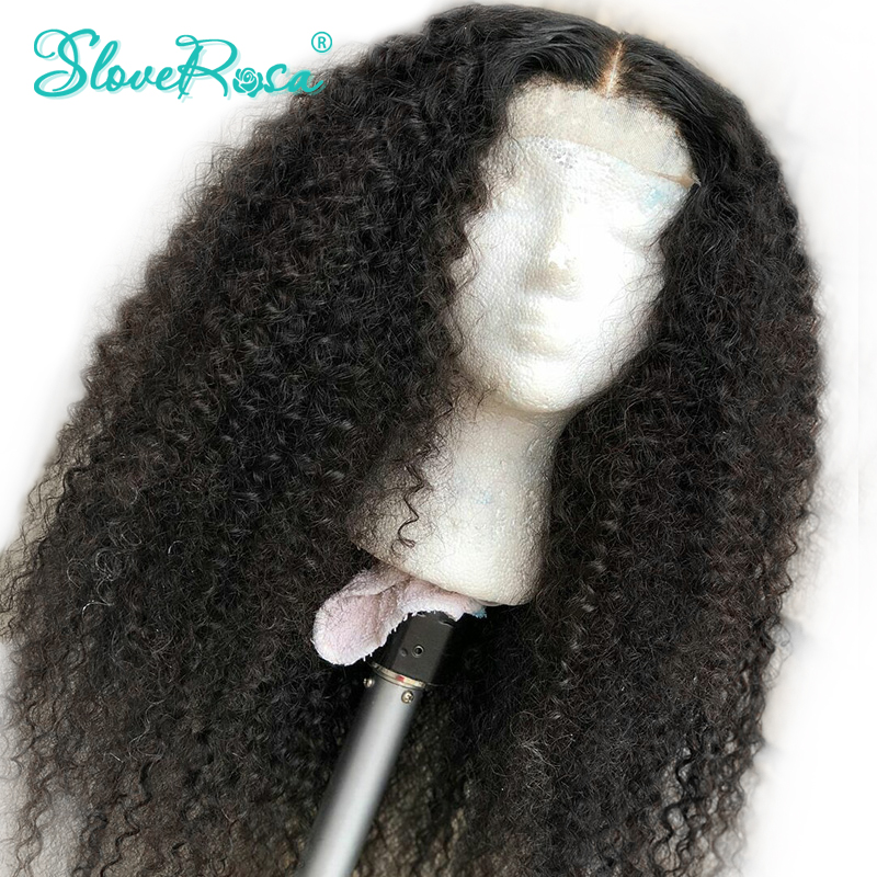 Lace Front Human Hair Wigs Middle Part Afro Kinky Curly Brazilian Remy Pre Plucked With Baby