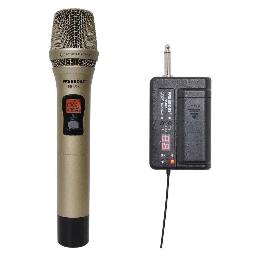 FREEBOSS FB-U03 1 Way 100 channel Metal Handheld Transmitter Wireless Microphone Camera Microphone Party Karaoke Microphone freeboss fb u10h dual way transmitter digital uhf wireless microphone with handheld lapel headset microphone for karaoke mic