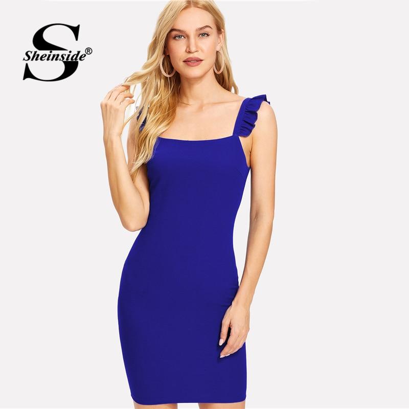 Sheinside azul frilled STRAP lápiz vestido partido llano sin mangas ...