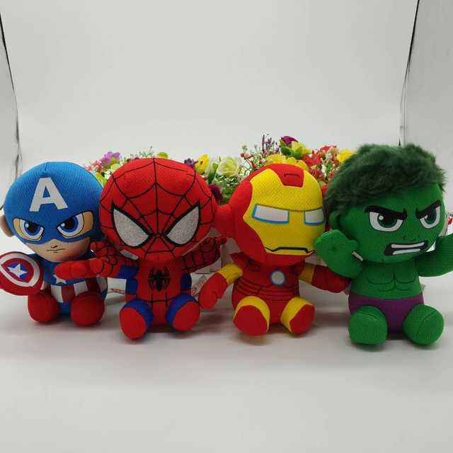 TY BEANIE 1PC 15CM SPIDERMAN IRONMAN HULK captain American black panther  groot Plush Toys Stuffed animals bba181648301
