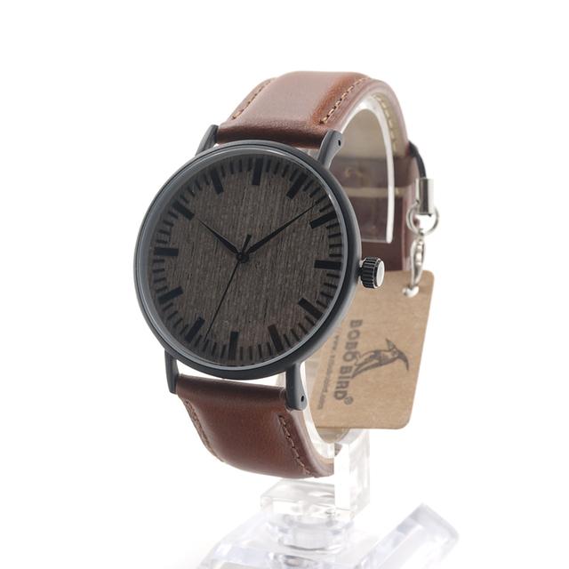 BOBO PÁSSARO E25 Relógios Homens Top Marca de Luxo de Aço Inoxidável caixa De Madeira Mostrador do relógio de Pulso com Pulseira De Couro Marrom em caixa de Presente caixa