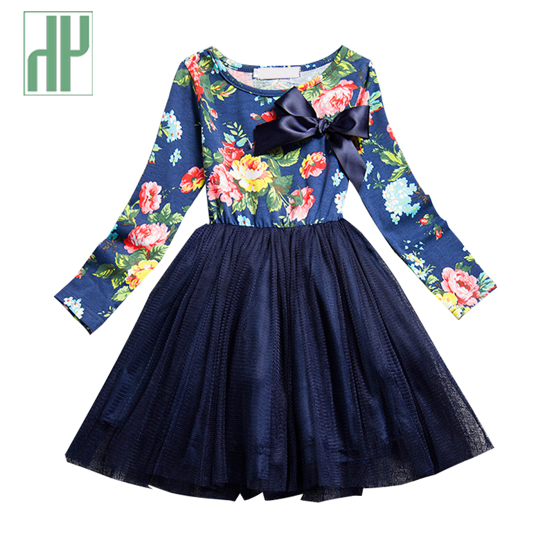 Girls princess dress long sleeve spring summer girls dresses with flowers casual toddler girl party dress kids clothing for sale 2017 new spring summer kids girls dresses long sleeve cherry print dress soft cotton princess party dress girls clothes for 3 9y