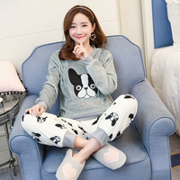 Flannel Winter Women Pajamas Printing Cartoon Dog Cute With Long Sleeve Pant O Neck Large Size