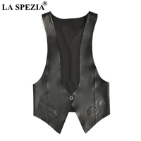 LA SPEZIA Genuine Leather Vest Womens Black Plain Waistcoat Female OL V Neck Solid Real Leather Ladies Fashion Spring Gilet 2020