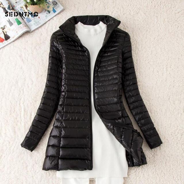 SEDUTMO Winter Long Women Down Jackets Ultra Light Duck Down Coat Thin Slim Black Puffer Jacket ED341 2