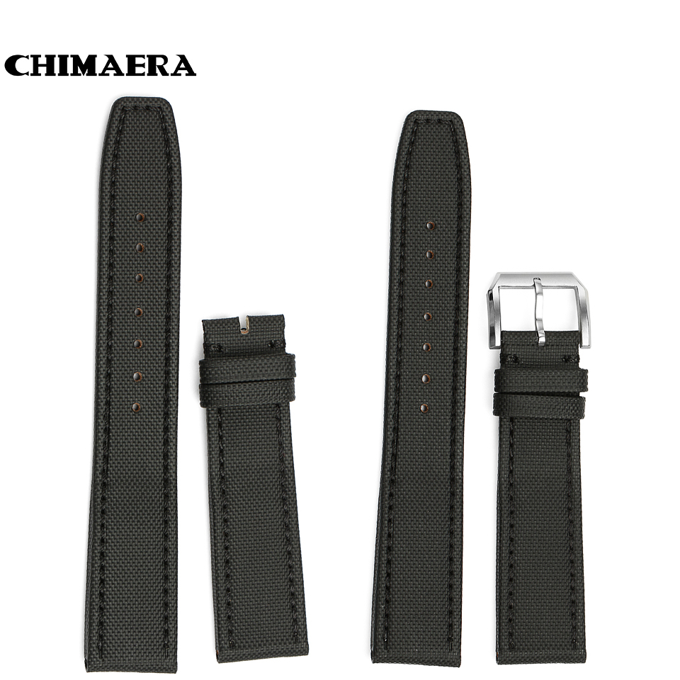 CHIMAERA 20mm Black Farbic+Leather Watchband with Silver Pin Buckle Watch Strap Vintage Watch Band for IWC Big Pilot Top Gun men calf leather watch strap 20mm 21mm 22mm genuine leather watch band for iwc for omega for seiko with silver pin buckle