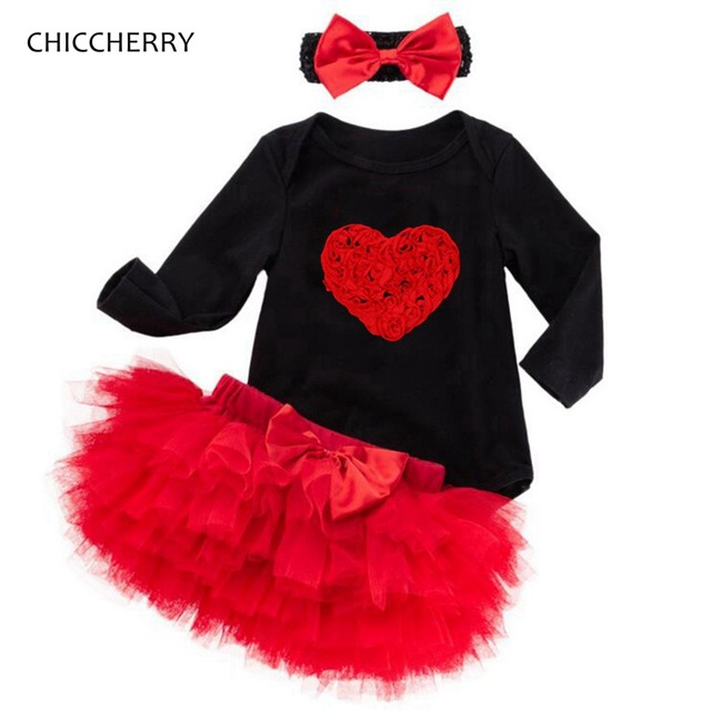 0db73c2b9d150 3D Love Girls Valentines Day Outfits Baby Girl Clothes Long Sleeve Bebe  Bodysuit Lace Tutu Skirt Infant Clothing Vestiti Bambina