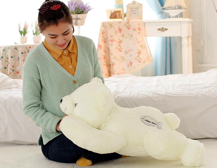 The lovely bear doll big plush lying bear toy The polar bear pillow birthday gift about 70cm big plush whale toy big head white foam dolphin doll pillow gift about 70cm