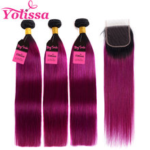 Yolissa 1B/Purple Straight Hair 3 Bundles With Closure Brazilian Ombre Bundles With Closure Remy Hair Extension(China)